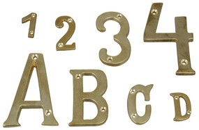 4597*06 Buchstaben und Zahlen Messing poliert