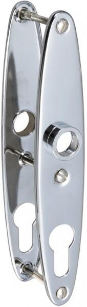 4183-132 Ovalschild paarweise für Yachtschlösser mit Profilzylinder, Messing verchromt